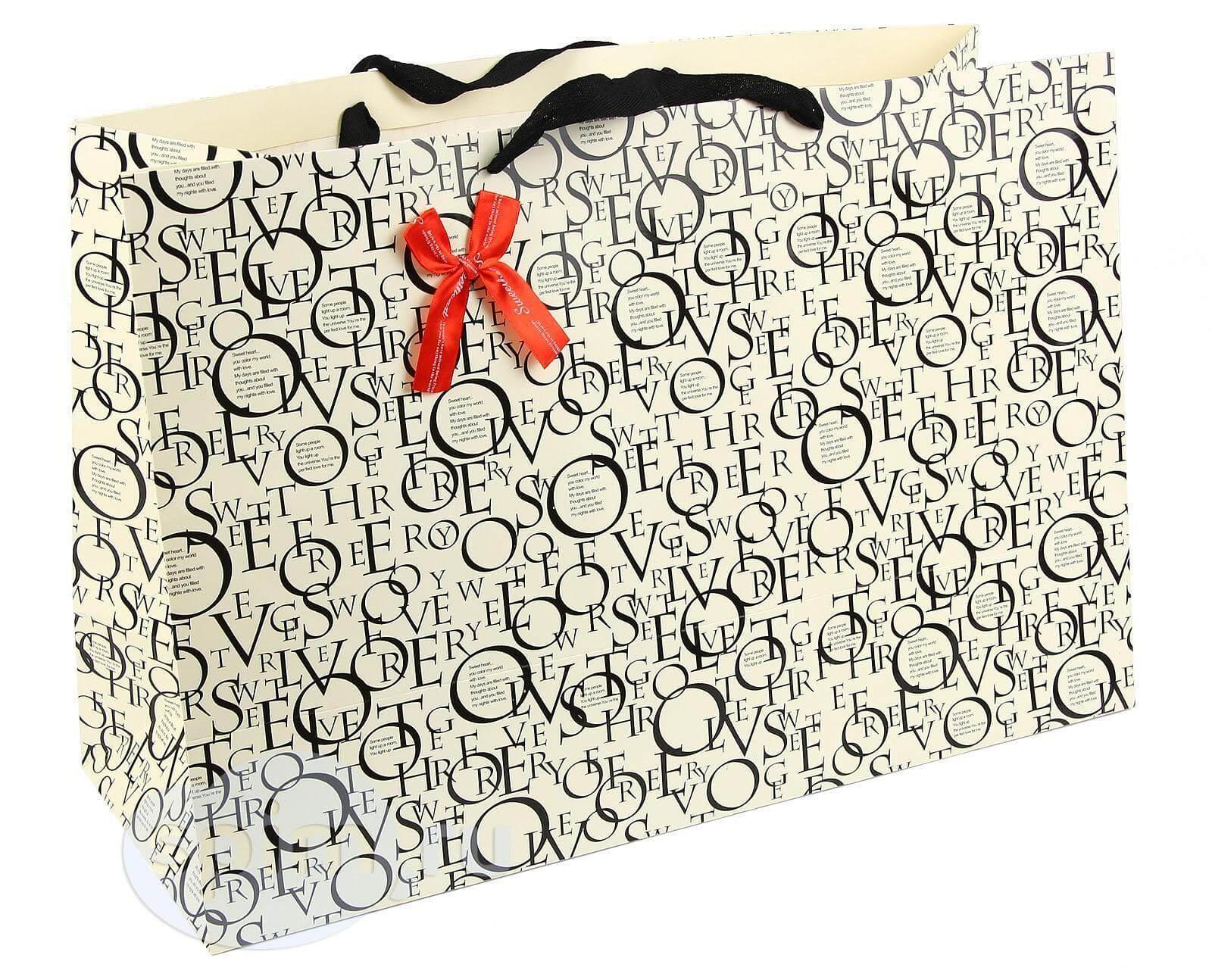 Широкий подарочный пакет с буквами - Detskoye-Postelnoe.Ru