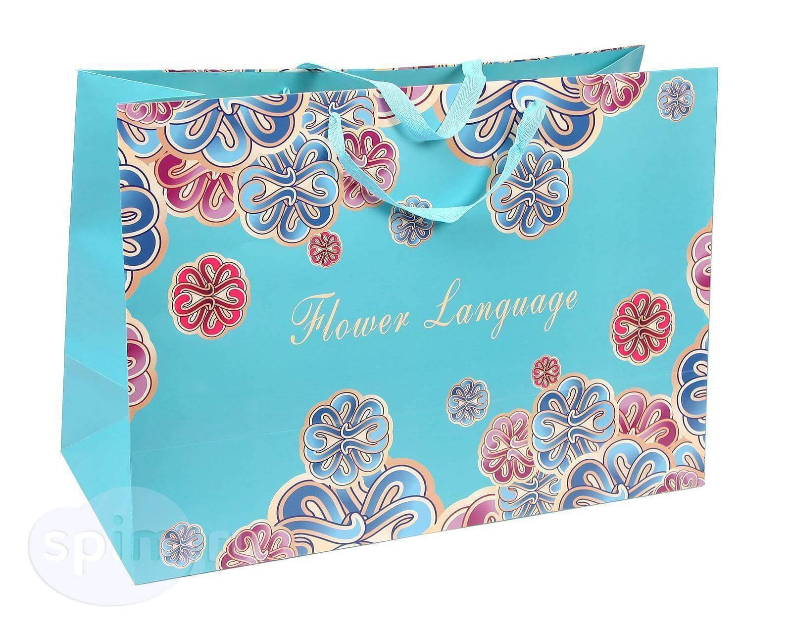 Широкий подарочный пакет Бирюзовый с узорами - Detskoye-Postelnoe.Ru