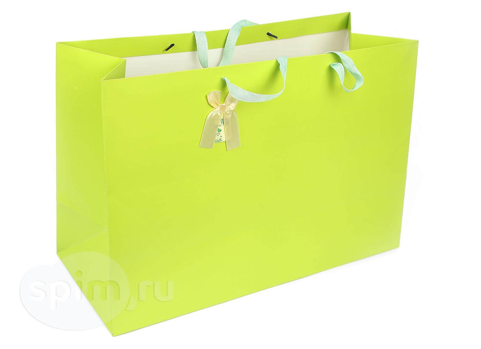 Широкий подарочный пакет Lefard Светло-зеленый - Detskoye-Postelnoe.Ru