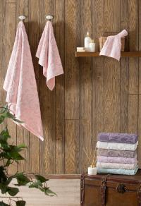 Набор из 3-х полотенец Tivolyo Baroc, фиолетовый