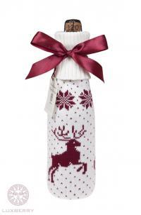 Декоративный чехол на бутылку Luxberry Олень, белый/бордо