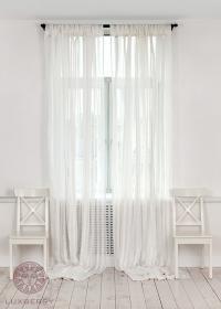 Шторы на петлях Luxberry Curtain Line белый/широкая полоса