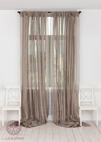 Шторы на петлях Luxberry Curtain Line серо-бежевый/широкая полоса