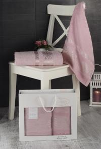 Набор махровых полотенец Karna Rebeka грязно-розовый