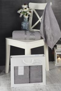 Набор махровых полотенец Karna Rebeka серый