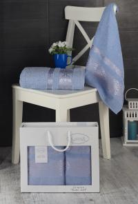 Набор махровых полотенец Karna Rebeka голубой