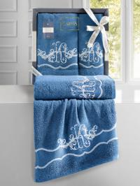 Набор махровых полотенец Karna Adven синий