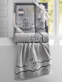 Набор махровых полотенец Karna Adven светло-серый