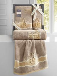 Набор махровых полотенец Karna Adven кофейный