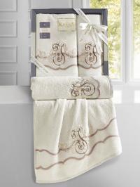 Набор махровых полотенец Karna Adven кремовый