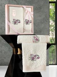 Набор махровых полотенец Karna Stella кремовый