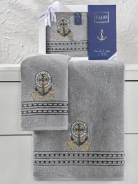 Набор махровых полотенец Karna Marin серый