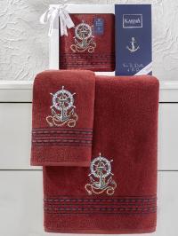 Набор махровых полотенец Karna Marin бордовый