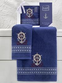 Набор махровых полотенец Karna Marin королевский синий