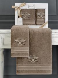 Набор махровых полотенец Karna Kavell коричневый