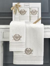 Набор махровых полотенец Karna Kavell кремовый
