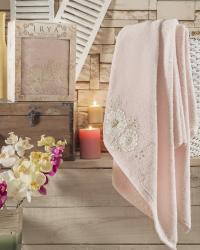 Полотенце Irya Fleur 85х150 см с гипюром, розовое
