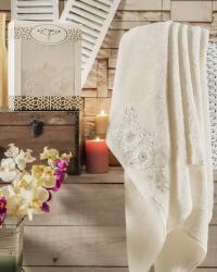 Полотенце Irya Fleur 85х150 см с гипюром, молочное