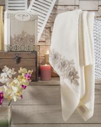 Полотенце Irya Romantic 85х150 см с гипюром, молочное