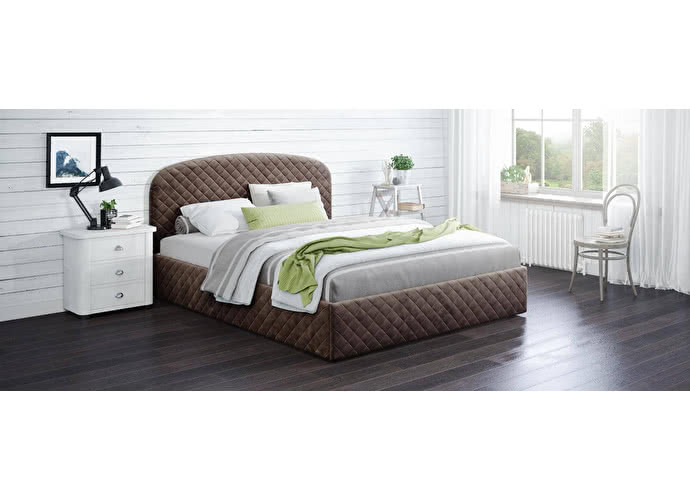 Кровать двуспальная Аллегра 140х200 Модель 1204 (коричневый) с основанием
