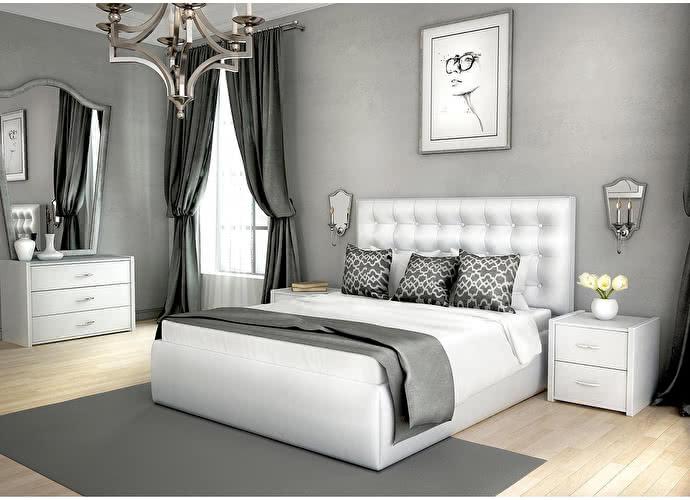 Кровать Lonax Аврора с подъемным механизмом albert white