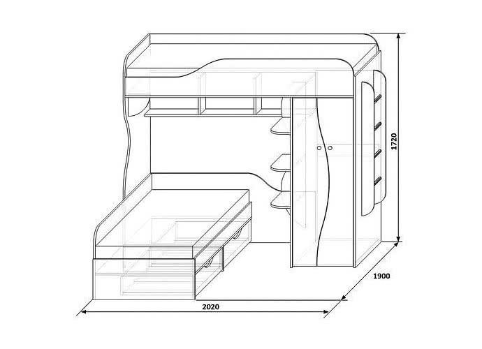 Кровать КМК 02, 0252 двухъярусная (80)