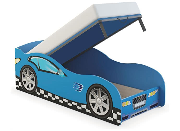 Кровать-машина Ижмебель Браво (80) ясень шимо светлый/синий
