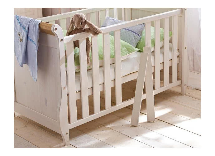 Кроватка ММЦ Хельсинки детская Белый воск+антик