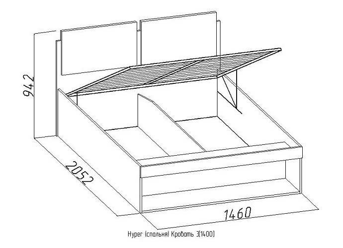 Кровать Глазов Hyper 3 (140)