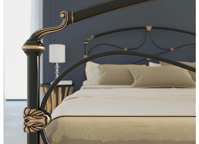 Кровать Originals by Dreamline Laiza (1 спинка) Черный глянцевый с позолотой