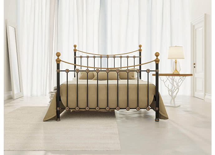 Кровать Originals by Dreamline First (2 спинки) Черный глянцевый с позолотой