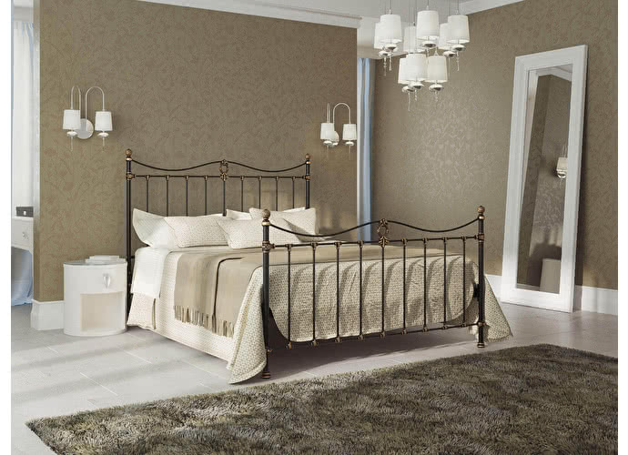 Кровать Originals by Dreamline Taya (1 спинка) Черный глянцевый с позолотой