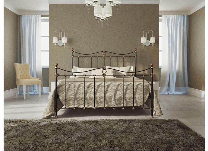 Кровать Originals by Dreamline Taya (2 спинки) Черный глянцевый с позолотой
