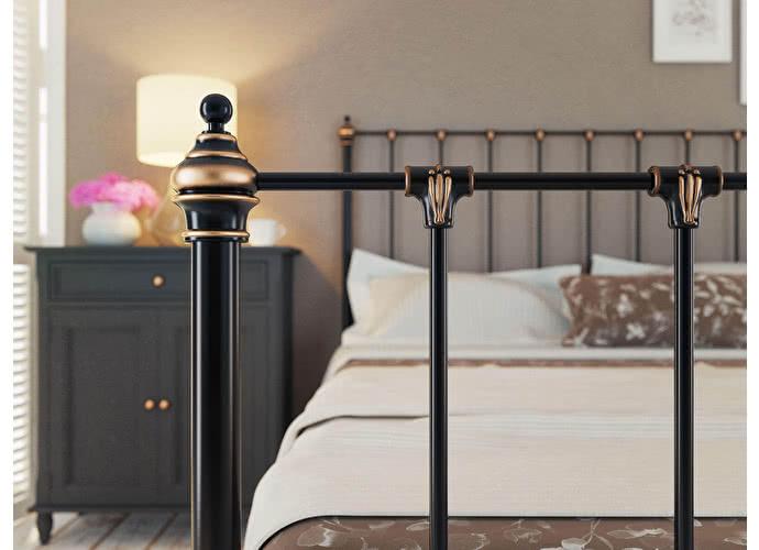 Кровать Originals by Dreamline Paris (1 спинка) Черный глянцевый с позолотой