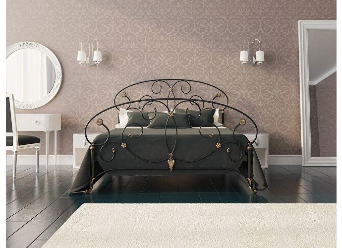 Кровать Originals by Dreamline Ariana (2 спинки) Черный глянцевый с позолотой
