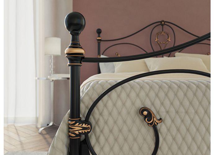 Кровать Originals by Dreamline Melania (1 спинка) Черный глянцевый с позолотой