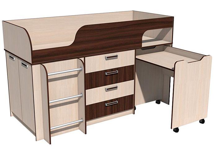 Кровать Сильва Рико с выкатным столом НМ 011.56.00 (венге магия)