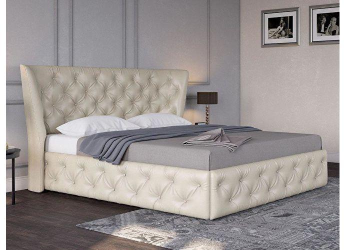 Кровать Life 5 Box (ткань и цвета люкс) Молочный перламутр (5061) экокожа