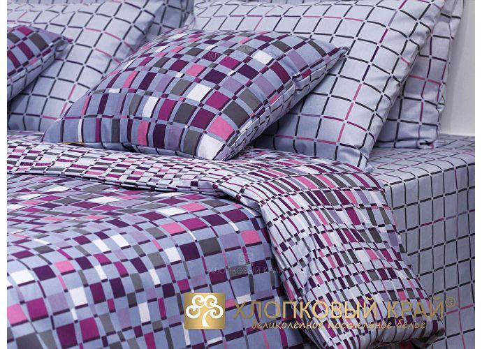 Постельное белье Хлопковый край Оксфорд, серо-сливовый