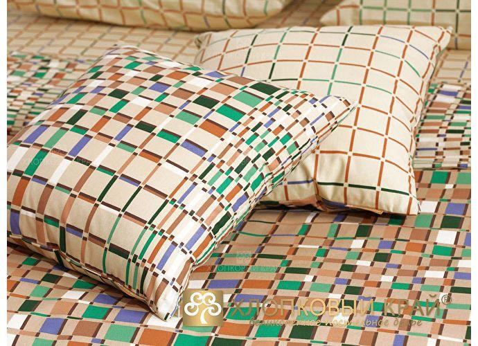 Постельное белье Хлопковый край Оксфорд, бежево-зеленый