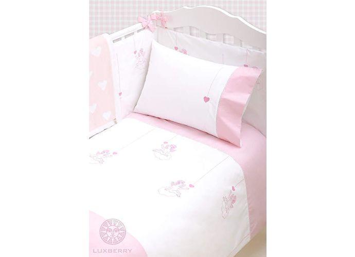 Детское постельное белье Luxberry Angels белый/розовый