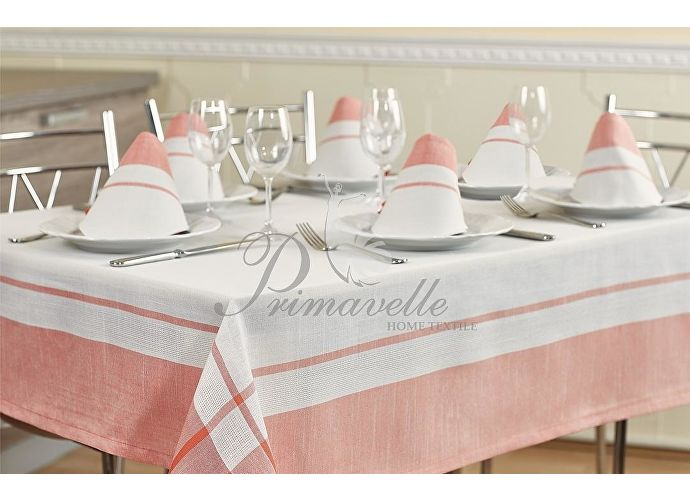 Скатерть Primavelle Duet с салфетками белый/розовый