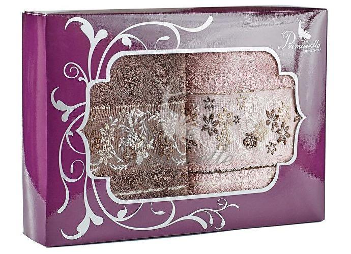 Набор полотенец Primavelle Mile, 50x90 (2 шт.) темно-коричневый/сухая роза