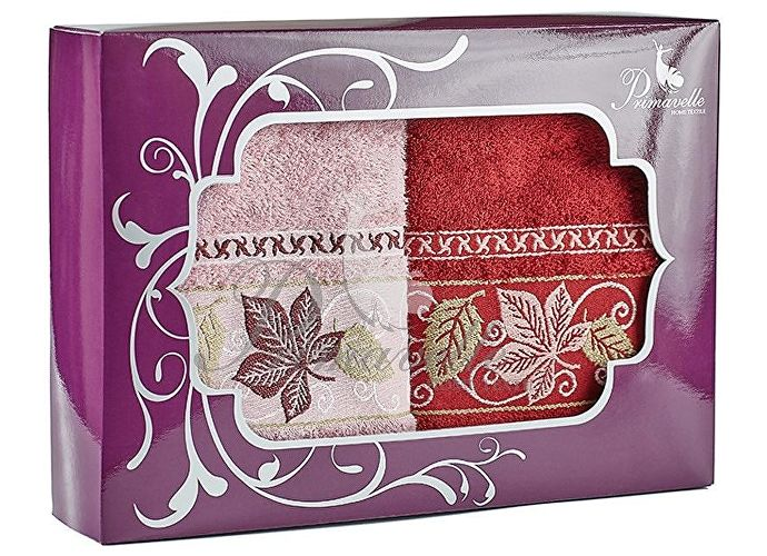 Набор полотенец Primavelle Lea, 50x90 (2 шт.) бордовый/оливковый