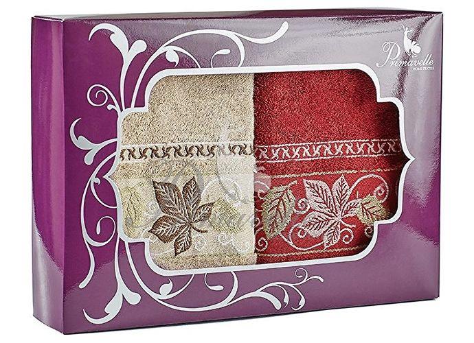 Набор полотенец Primavelle Lea, 50x90 (2 шт.) сухая роза/оливковый