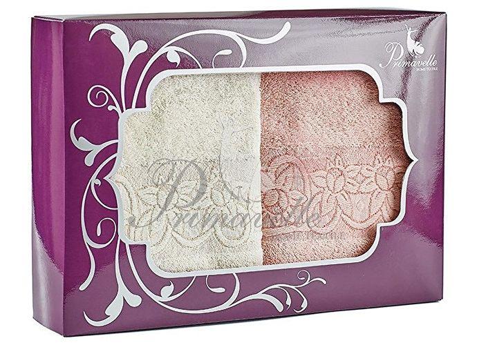 Набор полотенец Primavelle Deni, 50x90 (2 шт.) чайная роза/серо-голубой