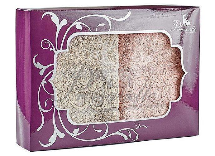 Набор полотенец Primavelle Deni, 50x90 (2 шт.) чайная роза/светло-коричневый