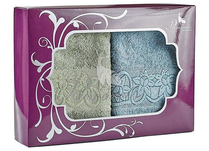 Набор полотенец Primavelle Deni, 50x90 (2 шт.) ягодный/серо-голубой