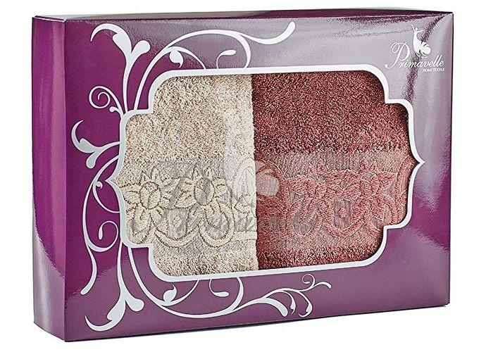 Набор полотенец Primavelle Deni, 50x90 (2 шт.) ягодный/светло-коричневый
