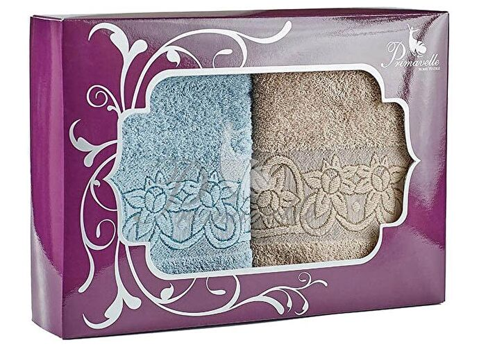 Набор полотенец Primavelle Deni, 50x90 (2 шт.) серо-голубой/светло-коричневый